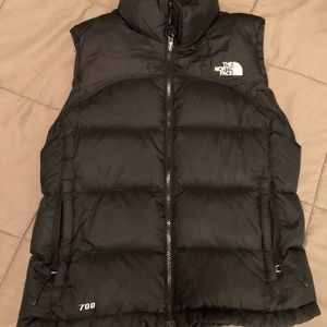 The North Face black puffer vest.